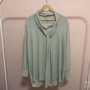 Loft tunic blouse with heart print and neck tie